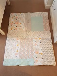 Baby girls cot quilt, beautiful pale shades of pinks, yellows, blues and whites 😍 Cot Quilt, Quilts, Blue And White, Yellow, Baby Girls, Blues, Shades, Blanket, Pink