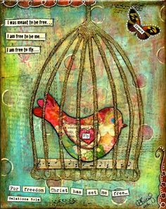 Wall art - 20 ways to Mod Podge canvas. - Mod Podge Rocks Found the directions for this one at: http://debbiesaenz.typepad.com/blog/2012/04/mod-podge-monday-mixed-media-tutorial-freedom-bird-in-cage.html
