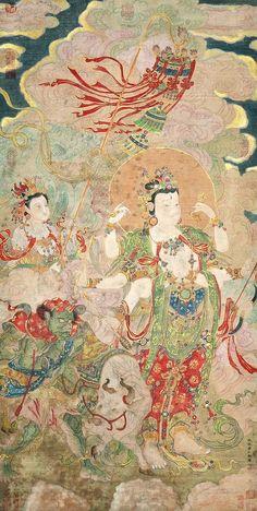 Qiu Ying (1495 - 1552)  Ming Dynasty Venerable Buddha. Hanging Scroll, Ink & Color on Paper 明 仇英 (1495 - 1552) 朝元圖  設色水墨紙本立軸 款識:仇英實父敬繪 鈐印:(十洲) 鑑藏印: 清宮藏印九方 (乾隆御覽之寶) (乾隆鑑賞) (嘉慶御覽之寶) (三稀堂精鑒璽) (宜子孫) (御書房鑑藏寶) (石渠寶芨) (石渠定鑑) (寶芨重編) 王養度(曾藏荊門王氏處) 于騰 (飛卿過眼) 龐元濟(臣龐元濟恭藏) 吳榮光(荷屋鑑賞) 梁清標(蕉林鑑定) 唐翰題(嘉興新豐鄉人唐翰題收藏印)