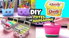 DIY Idéias com POTES de MARGARINA Crafts To Do, Crafts For Kids, Arts And Crafts, Diy Crafts, Cardboard Crafts, Paper Crafts, Nim C, Recycled Crafts, Diy Videos