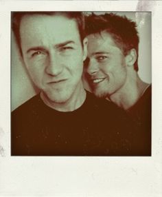 Ed Norton & Brad Pitt on the set of Fight Club