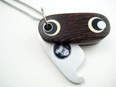 Unique Locket, Wood, Ooak, handmade, unisex, aluminum, pendant, The Oval. $345.00, via Etsy.