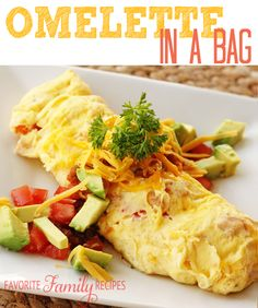 Omelette in a Bag. We make these EVERY. SINGLE. TIME. we go camping. They are SO good-- nothing tastes better after a long night of being cold and hungry. The kids love them because they can make them however they want and I love them because clean-up is virtually non-existent! You just can't lose with these. Also great for REUNIONS! You can whip up big batches at one time!