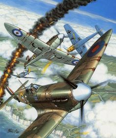 Battle of Britain by Francis Bergese Ww2 Aircraft, Fighter Aircraft, Military Aircraft, Military Drawings, Aircraft Painting, Airplane Art, Supermarine Spitfire, Ww2 Planes, Battle Of Britain