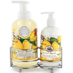 Lemon Basil Handcare Soap/Lotion Caddy Set  Scent: Fresh lemon and basil A silver-toned caddy holds a bottle of Foaming Hand Soap and rich Hand Lotion.  Very elegant, very convenient. Size: Foaming Hand Soap: 17.8 fl oz/530ml    Hand Lotion: 8 fl oz/236 ml