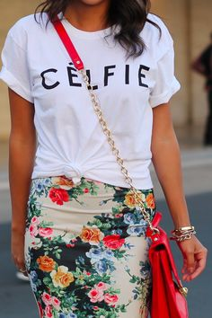 Graphic tee with floral skirt