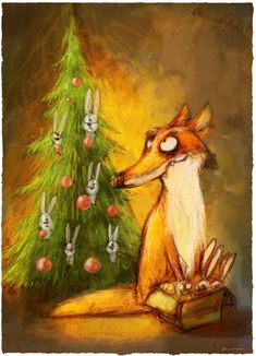 illustration by Dainius Šukys Fox Illustration, Illustrations, Christmas Animals, Christmas Art, Funny Paintings, Fox Art, Colorful Drawings, Whimsical Art, Christmas Pictures