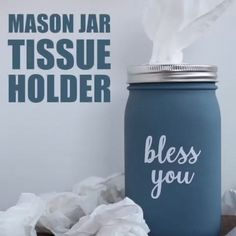 Mason Jar Tissue Holder Ditch the cardboard tissue box for this mason jar tissue holder. Great for bathrooms, bedrooms and living rooms where you'd like a little more Brilliantly Decorative Mason Jar Home Decorating Projects - ArmonthAweso Mason Jar Projects, Mason Jar Crafts, Mason Jar Diy, Bathroom Mason Jars, Pickle Jar Crafts, Mason Jar Holder, Vintage Mason Jars, Diy Hanging Shelves, Diy Wall Shelves