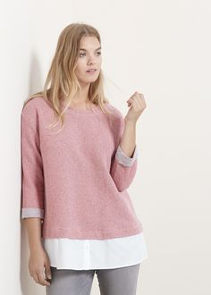 Evita maglie e abiti sformati con dettagli sui fianchi che allargano. Avoid sweaters and clothes that are not shaping your bust, with details on hips. They will only make you look wider and heavier Pregnancy Looks, Roll Up Sleeves, Capsule Wardrobe, Mango, Cotton Fabric, Contrast, Tunic Tops, Plus Size, Pullover