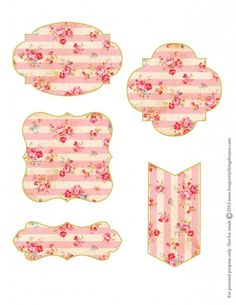 Free Shabby Floral Printable Tags...these are so lovely! Great for gift tags, labels, signs, cards, decorations, ephemera, frames, holidays, shabby chic, valentine, DIY, paper craft, vintage floral in pastel pinks reds & blues.:
