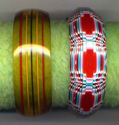 Apple juice reverse-carved striped Bakelite bangle. Thirties. Ten layered, multicolored cellulose acetate bangle by Lea Stein, Paris, ca. 1970, first edition.