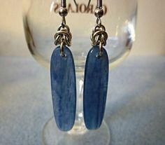 Kyanite earrings natural stone earrings by EileensBeadedJewelry