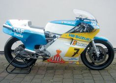 1983 Suzuki XR40 One of the Suzuki GB bikes ridden by Sheene during 1983, this Factory XR40 (Frame Number 1003) is finished in blue / yellow over white. Still sporting logos for both HB International and DAF Trucks (the former being Heron Suzuki's principal sponsor and the latter Sheene's personal one), it is said to have been extensively rebuilt by the Suzuki team mechanics prior to purchase by the previous owner in 1986.