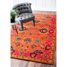 nuLOOM Handmade Overdyed Traditional Orange Wool Rug (6'x 9') - Overstock Shopping - Great Deals on Nuloom 5x8 - 6x9 Rugs