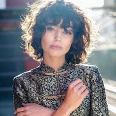 Trending Short Curly Hairstyles 2019 34 - New Hair Styles Curly Fringe, Curly Hair With Bangs, Short Hair Cuts, Short Hair Styles, Curly Hair Cuts Medium, Fringe Bangs, Short Bangs, Wavy Hair, Curly Bob Hairstyles