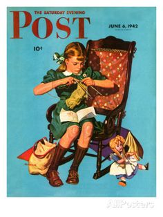 """""""Knitting for the War Effort,"""" Saturday Evening Post Cover, June 6, 1942 Giclee Print by James W. Schucker at AllPosters.com"""