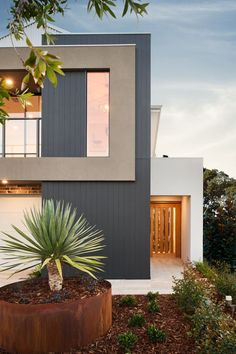 #thearthouse #elevation #frontgarden #frontdoor #mixedmaterials #newhome #displayhome #newlevelhomes #contemporary #garden #natives