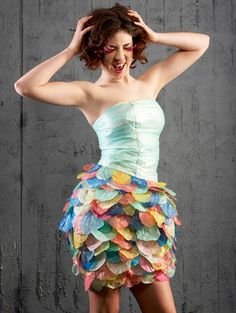 15 Inventive Dresses Made from Recycled Materials via Brit + Co. Plastic Bags
