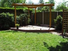 Corner Triangular Pergola With Roof , Unique Triangular Pergola In Landscaping And Outdoor Building Category
