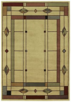 Mission Style Rug Arts And Crafts Leaf Beige Great For Bungalow Homes Too Machine Made Olefin Many Sizes The Perfect Spot In Your