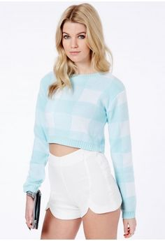 Missguided - Elisette Gingham Cropped Jumper In Baby Blue