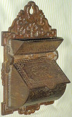 Antique Match Safe Cast Bronze Wall Hanger W/Cover