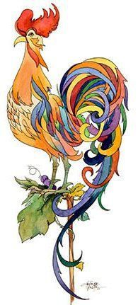 Rainbow Tale  Rooster by JerianneVanDijk on Etsy, $40.00