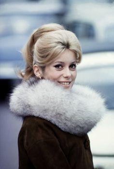 Catherine Deneuve. 1960s fashion. vintage fur