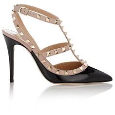 Valentino Women's Rockstud Caged Pumps ($995) ❤ liked on Polyvore featuring shoes, pumps, heels, sapatos, valentino, black, t strap pumps, black high heel shoes, high heel shoes and ankle strap pumps