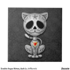 Zombie Sugar Kitten, dark Small Square Tile