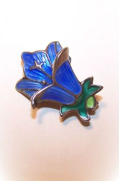 1950s STERLING SILVER & Enamel Floral Pin by David Andersen, Norway!