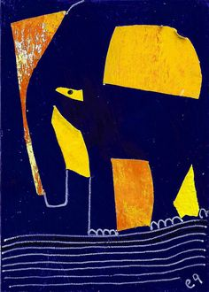 e9Art, Eric Houck: I am NOT the walrus (goo goo g'joob) Elephant Art Collage Abstract Elephant Art, Naive, Collage Art, Painting & Drawing, Surrealism, Mystic, Folk Art, Primitive, Whimsical