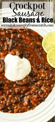 Crockpot Sausage Black Beans and Rice serenabakessimply. sausage and veggies;recipes with sausage dinner;spaghetti with sausage;orrechiette with sausage; Crock Pot Slow Cooker, Crock Pot Cooking, Pressure Cooker Recipes, Cooking Recipes, Crock Pot Rice, Lunch Recipes, Dinner Recipes, Black Beans And Sausage Recipe, Black Beans And Rice