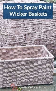 Paint adds a new look to anything. Learn how to freshen up your baskets by painting them. Spray Painted Baskets, Spray Paint Wicker, Painted Wicker, Old Wicker, Wicker Baskets, Painting Wicker Furniture, Diy Furniture, Bathroom Baskets, Dining Room Blue