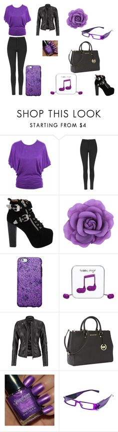 """Purple Out"" by thebombdigidy on Polyvore featuring Topshop, Jeffrey Campbell, Happy Plugs, maurices and Michael Kors"