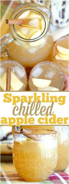 Chilled sparkling apple cider recipe that tastes amazing!! Make it a mocktail or a cocktail either way a perfect Fall drink that everyone raves about!!