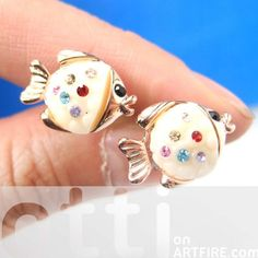 Small Fish Sea Animal Stud Earrings in Gold with Colorful Rhinestones $6.25 #fishes #fish #stud #earrings #jewelry #artFire