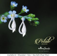 Memorable moments. Stories immemorial. Presenting collection Petale'. A tale in every jewel. Inspired by nature's flower garden. Fluid and flowing single and two-toned earrings embellished with light diamonds. There's a story of fine Craftsmanship in every creation. PETALE'- a tale in every jewel. (Available at: Kota, Ghaziabad, Delhi - Preet Vihar Showrooms) Reliance Jewels Be The Moment www.reliancejewels.com #Reliance #RelianceJewels #Gold #Diamond #Jewellery #Jewels
