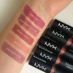 NYX Matte lipsticks with a couple of my new additions (although they are not new colors). I see myself mixing Euro Trash and Spirit together #makeup #makeuplover #makeupaddict #makeupjunkie #beauty #beautylover #beautyaddict #beautyblogger #beautyreview #cosmetics #nyx #NYXcosmetics #mattelipstick #makeupswatches #lipstick
