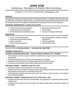 sports fitness resume example
