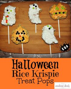 This Halloween Rice Krispie Treat Pops will sure to be a hit with your whole family and they are so easy to make!