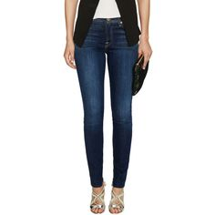 7 for All Mankind Mid-Rise Super Skinny Jean ($109) ❤ liked on Polyvore featuring jeans, blue, distressed jeans, blue jeans, destroyed skinny jeans, mid rise skinny jeans and skinny leg jeans