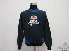 Vtg 90s The Game NBC Sports Crewneck Sweatshirt sz L Large SEWN Black Blue  #TheGame #SweatshirtCrew #tcpkickz