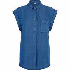 Mid wash roll sleeve denim shirt £30.00