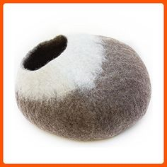 Kittycentric Cozy Cat Cave Bed - Handmade 100% Wool, Large (Brown/Cream) - For our pretty pets (*Amazon Partner-Link)