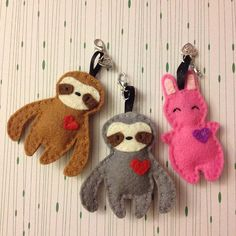 New felt keychains: sloth and bunny #keychain #sewing #feltsewing #sloth #bunny…