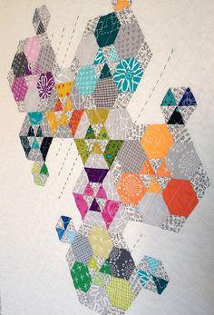 Rebecca Bell's EPP Improv mini quilt