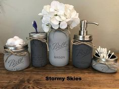 Farmhouse Mason Jar Bathroom Set: 5 piece