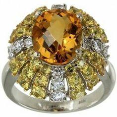 Yellow Sapphire, Diamond & Citrine Engagement Ring