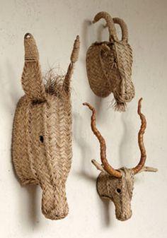 taxidermia con esparto, cabezas de animales con esparto